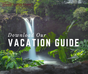 rainbow falls 80-foot waterfall big island itinerary text reads download our vacation guide