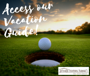 beautiful sunset on a golf course view of golf ball about to go in the hole. text reads access our vacation guide