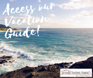 Beautiful waves crashing on volcanic rock on oahu text reads access our vacation guide!