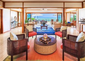 interior view of the living area in palm tree estate located in honolulu hawaii on oahu
