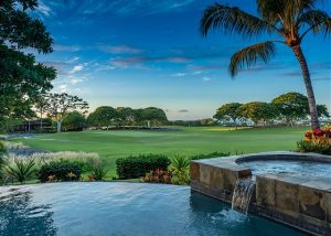 Maluhia Hale at Hualalai Big Island PHH Property exterior view of the pool and beautiful golf course
