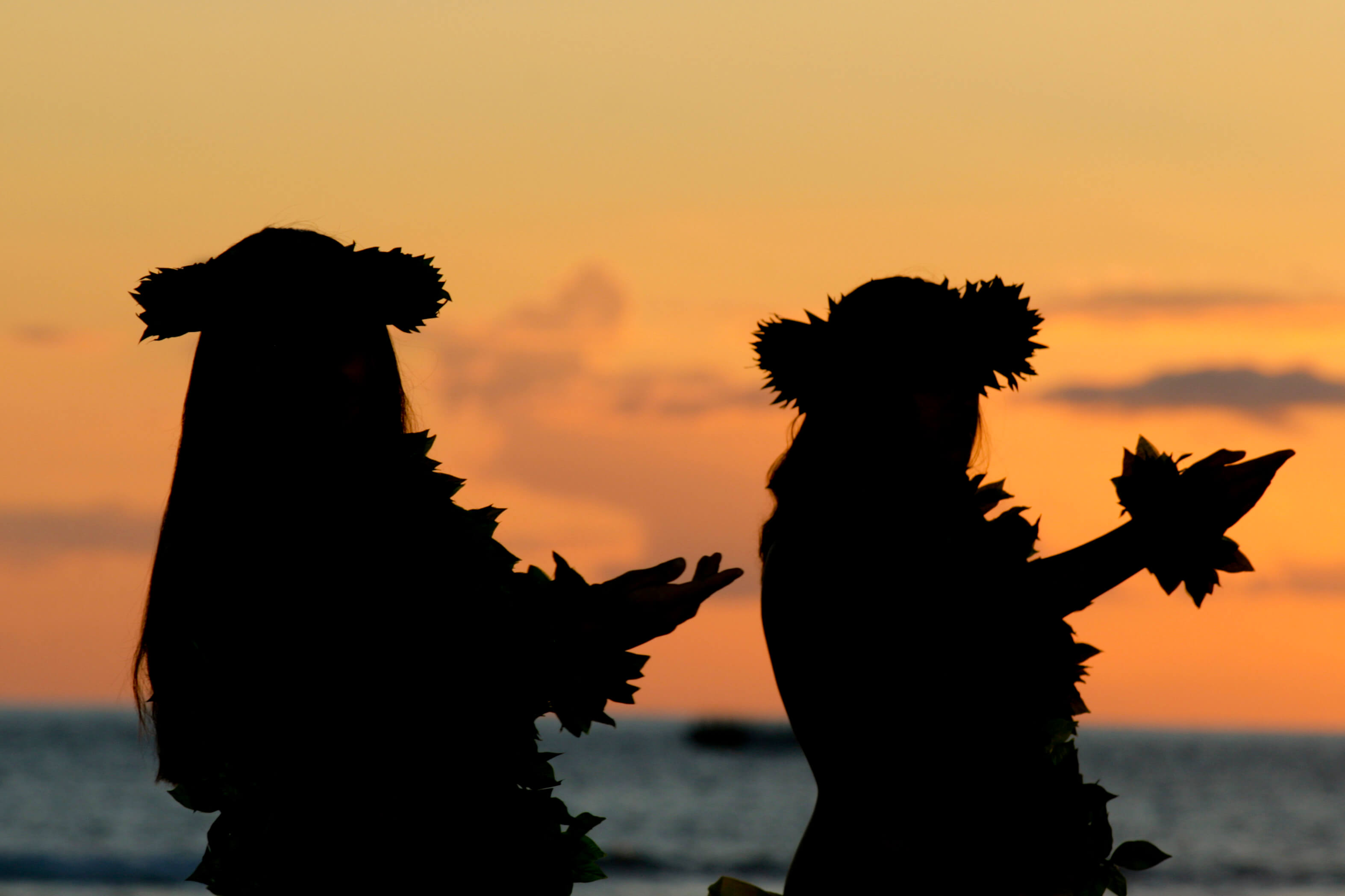 hula dancers silhouette at sunset