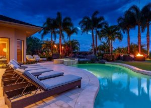 pool outside private vacation rental, night sky
