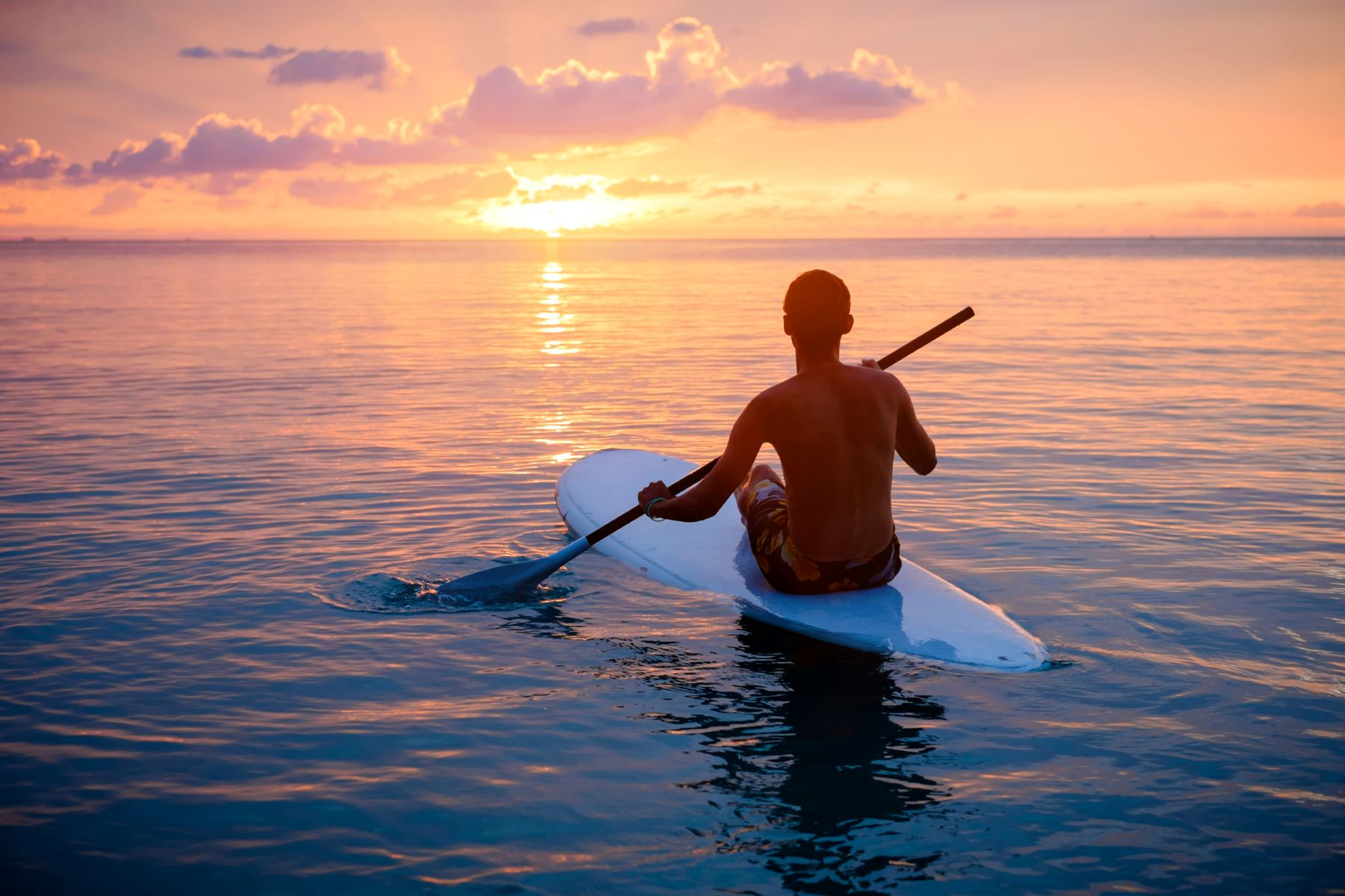 paddle boarding in sunset