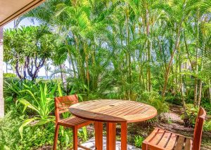 table and chairs surrounded by palm trees